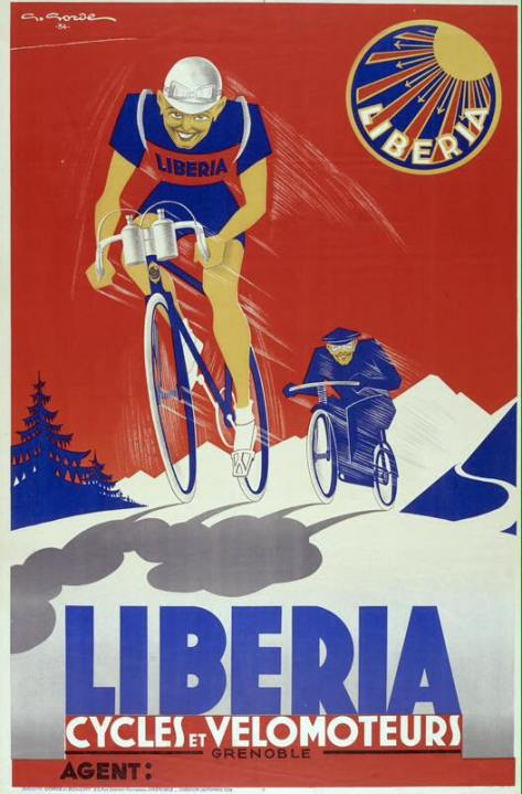 Affiche-velo-cyle-ancien-Liberia-Grenoble-Gorde-1930