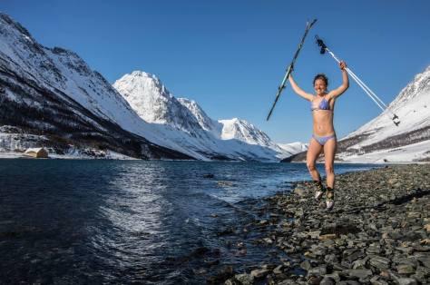 Kilian Jornet Emelie Forsberg Lyngen Norway after ski bath underwear