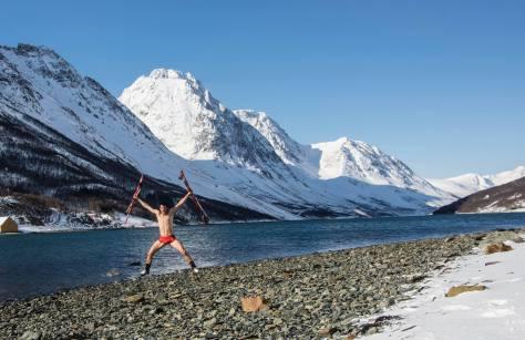 Kilian Jornet Lyngen Norway after ski bath underwear