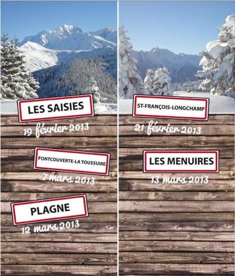 Beaufort tour dates Saisies st françois, menuires, plagne deux alpes