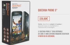 Quechua Phone 5 Décathlon mobile smartphone store price prix 229