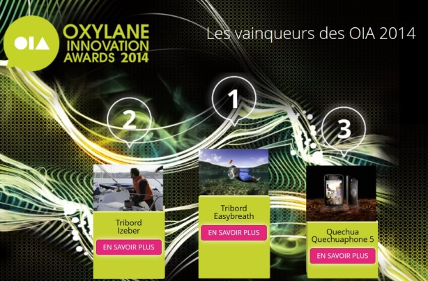 Vainqueur OIA Oxylane Decathlon Innovation Awards podium résultats 2014