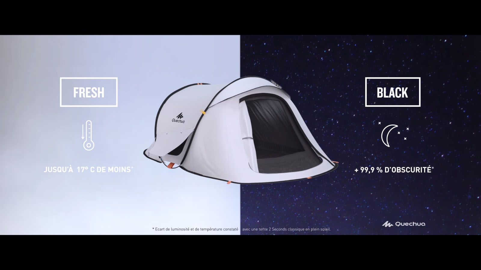 pub advert tente tienda tiende zelt quechua decathlon fresh black light obscurity 2second 2 3 4. Black Bedroom Furniture Sets. Home Design Ideas